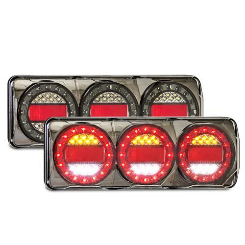 LED Combination Tail Lights (Pair) Maxilamp 3 Series STOP/TAIL/INDICATOR/REVERSE